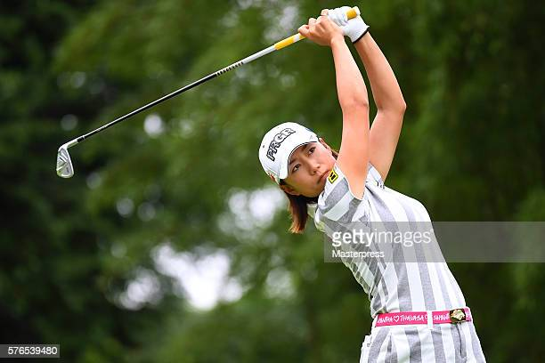 Erina Hara of Japan hits her tee shot on the 16th hole during the second round of the Samantha Thavasa Girls Collection Ladies Tournament 2016 at the...
