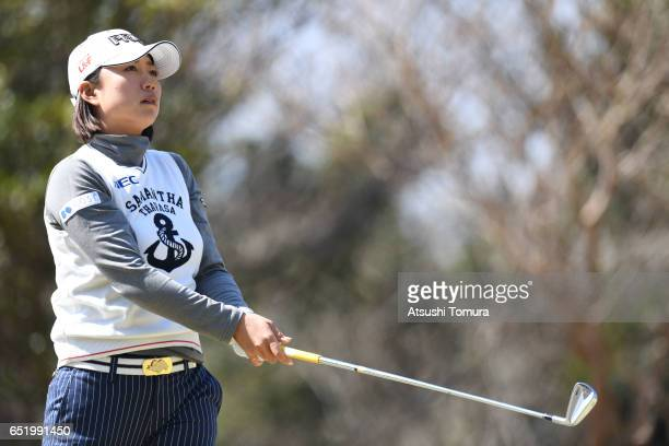 Erina Hara of Japan hits her tee shot on the 2nd hole during the second round of the Yokohama Tire PRGR Ladies Cup at the Tosa Country Club on March...