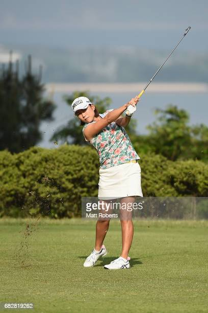 Erina Hara of Japan hits her tee shot on the 2nd hole during the final round of the HokennoMadoguchi Ladies at the Fukuoka Country Club Wajiro Course...