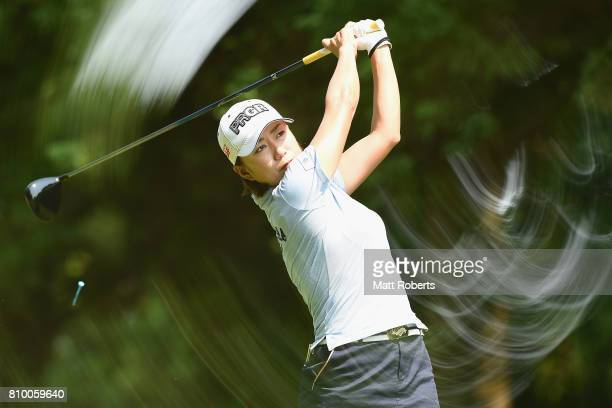 Erina Hara of Japan hits her tee shot on the 3rd hole during the first round of the Nipponham Ladies Classics at the Ambix Hakodate Club on July 7...
