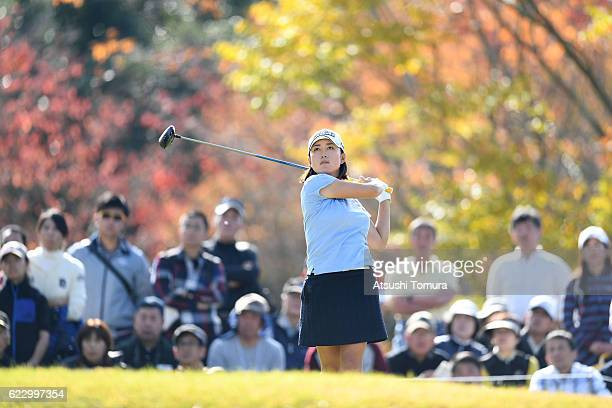 Erina Hara of Japan hits her tee shot on the 8th hole during the final round of the Itoen Ladies Golf Tournament 2016 at the Great Island Club on...