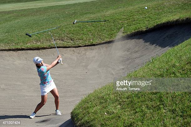 Erina Hara of Japan hits out from a bunker on the 18th hole during the third round of Fujisankei Ladies Classic at the Kawana Hotel Golf Course Fuji...