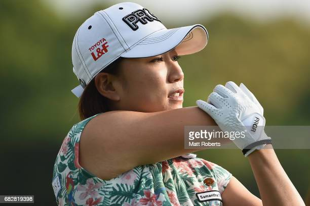 Erina Hara of Japan looks on during the final round of the HokennoMadoguchi Ladies at the Fukuoka Country Club Wajiro Course on May 14 2017 in...