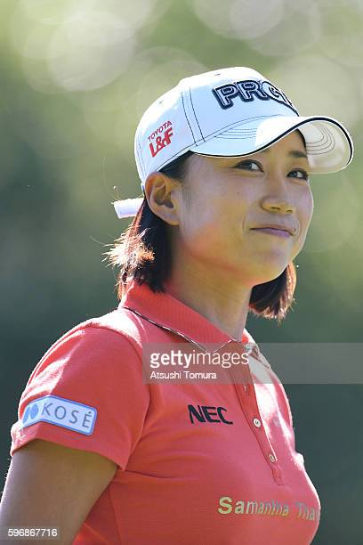 Erina Hara of Japan looks on during the final round of the Nitori Ladies 2016 at the Otaru Country Club on August 28 2016 in Otaru Japan