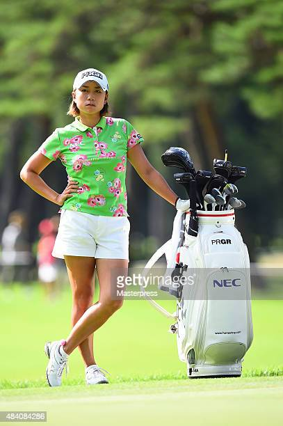 Erina Hara of Japan looks on during the second round of the NEC Karuizawa 72 Golf Tournament 2015 at the Karuizawa 72 Golf North Course on August 15...