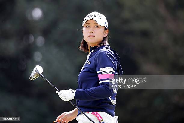 Erina Hara of Japan on the 5th hole during the first round of the YAMAHA Ladies Open Katsuragi at the Katsuragi Golf Club Yamana Course on March 31...