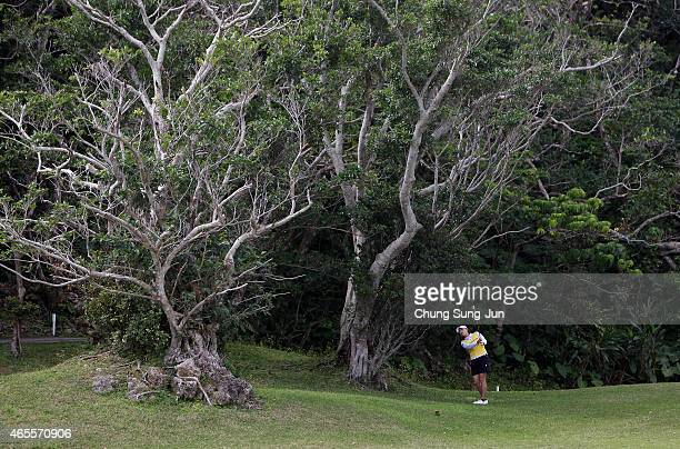 Erina Hara of Japan plays a shot during the final round of the Daikin Orchid Ladies Golf Tournament at the Ryukyu Golf Club on March 8 2015 in Nanjo...