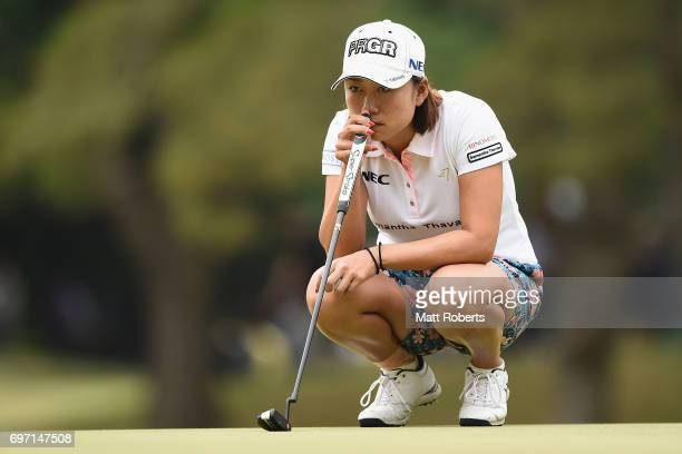 Erina Hara of Japan prepares to putt on the fifth green during the final round of the Nichirei Ladies at the on June 18 2017 in Chiba Japan