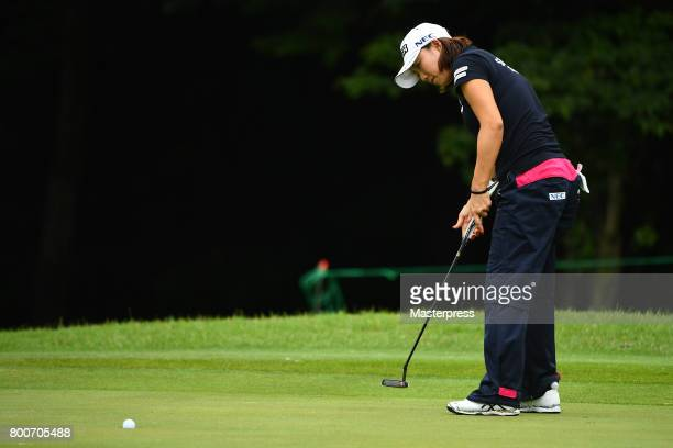 Erina Hara of Japan putts during the final round of the Earth Mondamin Cup at the Camellia Hills Country Club on June 25 2017 in Sodegaura Japan