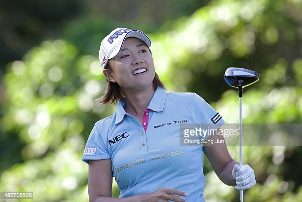Erina Hara of Japan smiles after a tee shot on the third hole during the second round of the 48th LPGA Championship Konica Minolta Cup 2015 at the...