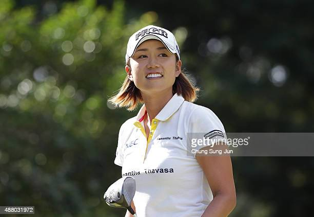 Erina Hara of Japan smiles after a tee shot on the third hole during the final round of the 48th LPGA Championship Konica Minolta Cup 2015 at the...