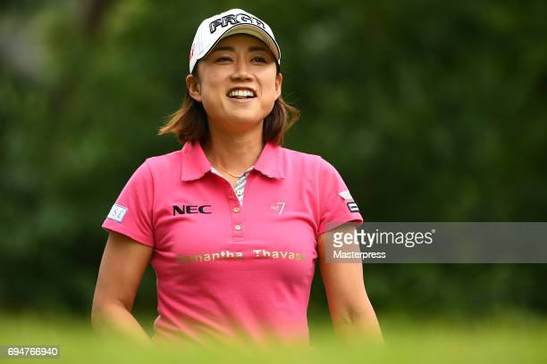 Erina Hara of Japan smiles during the final round of the Suntory Ladies Open at the Rokko Kokusai Golf Club on June 11 2017 in Kobe Japan