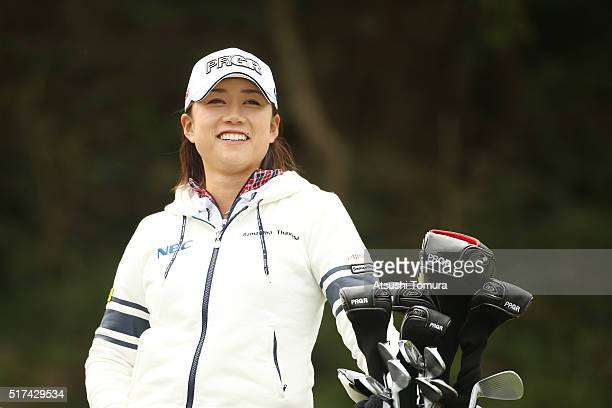 Erina Hara of Japan smiles during the first round of the AXA Ladies Golf Tournament at the UMK Country Club on March 25 2016 in Miyazaki Japan