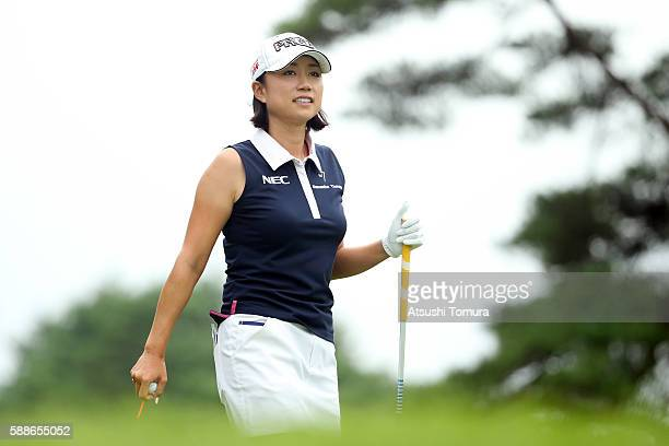 Erina Hara of Japan smiles during the first round of the NEC Karuizawa 72 Golf Tournament 2016 at the Karuizawa 72 Golf North Course on August 12...
