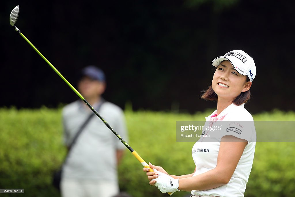 Erina Hara of Japan smiles during the third round of the Earth Mondamin Cup at the Camellia Hills Country Club on June 25, 2016 in Sodegaura, Japan.