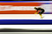 Erina Kamiya of Japan competes in the 500m Ladies race during Day 1 of the Essent ISU World Cup Speed Skating Championships 2013 at Thialf Stadium on...
