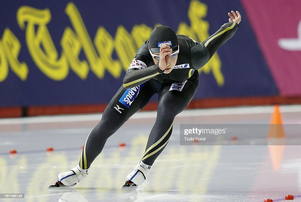 Erina Kamiya of Japan competes in the women's 500 meter race during the ISU World Cup Speed Skating event November 9, 2013 in Calgary, Alberta, Canada.