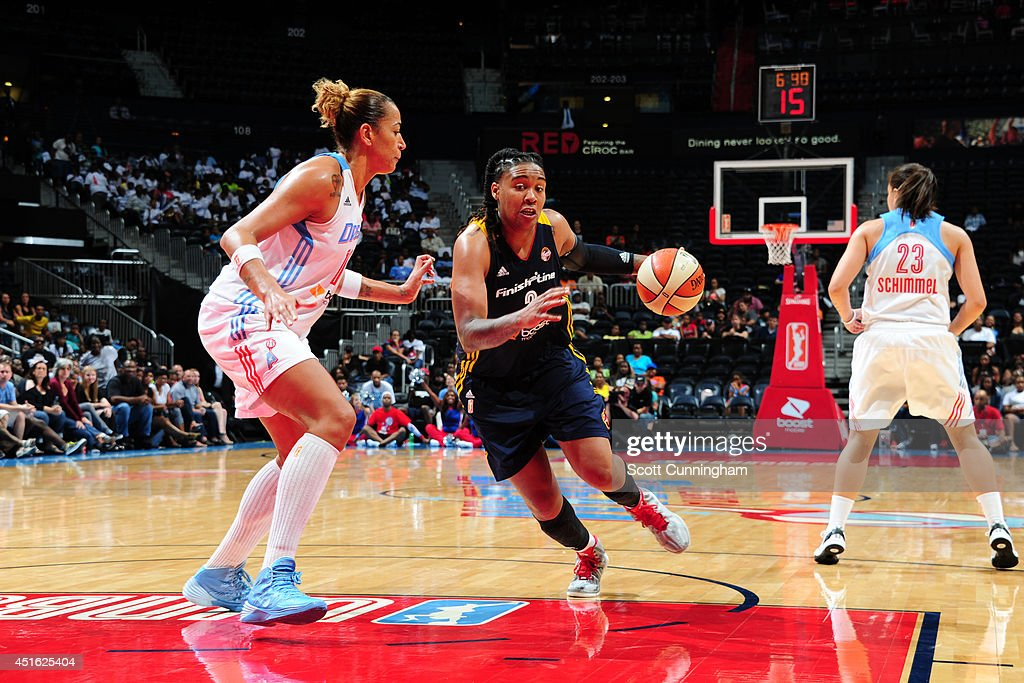 Erina Larkins #2 of the Indiana Fever handles the ball against the Atlanta Dream on July 1, 2014 at Philips Arena in Atlanta, Georgia.