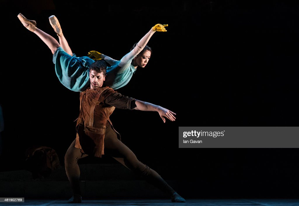 Erina Takahashi and James Forbat perform on stage during a dress rehearsal of the English National Ballet's 'Lest We Forget' at the Barbican Centre...