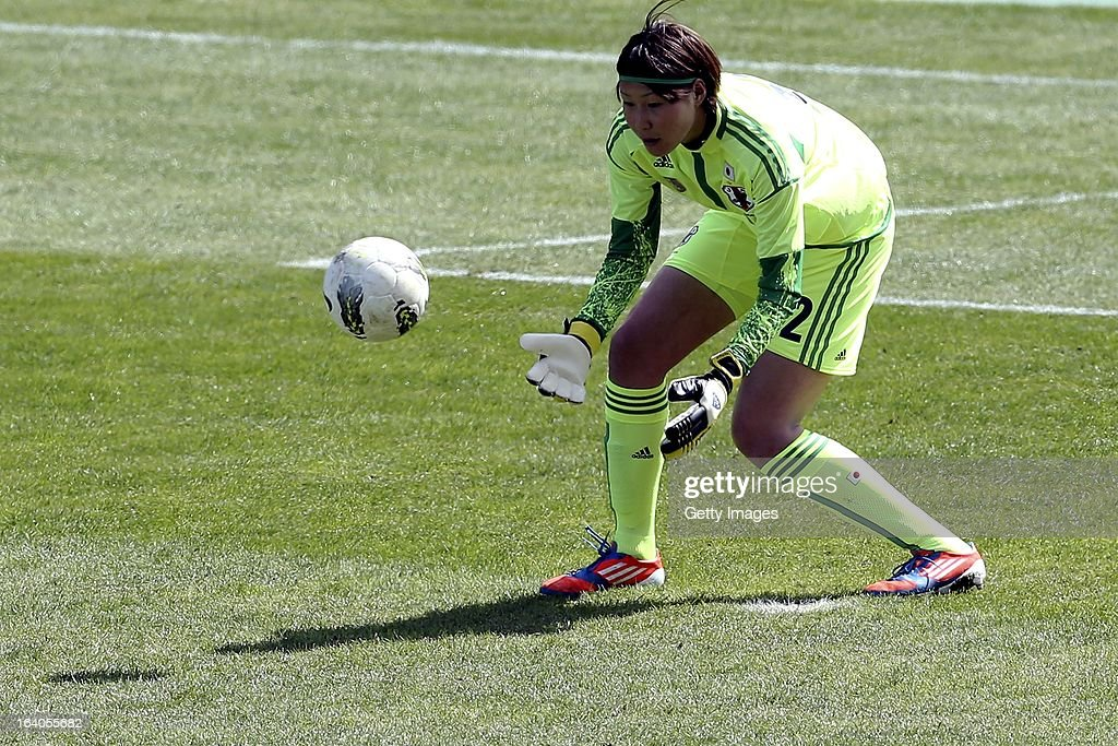 Erina Yamane of Japan during the Algarve Cup 2013 fifth place match at the Estadio Algarve on March 13, 2013 in Faro, Portugal.
