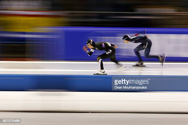 ErinaKamiya of Japan and HyunYungKim of South Korea compete in the 1000m Ladies race during day two of the ISU World Cup Speed Skating held at...