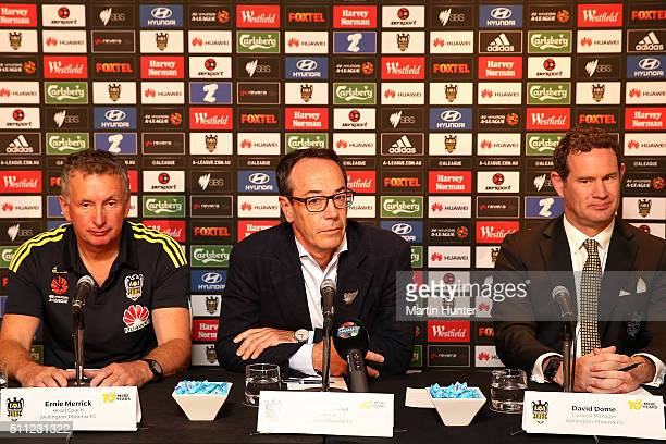 Erine Merrick Phoenix coach Rob Morrison Wellington Phoenix chairman and David Dome Phoenix General manager speak to the media during a Wellington...