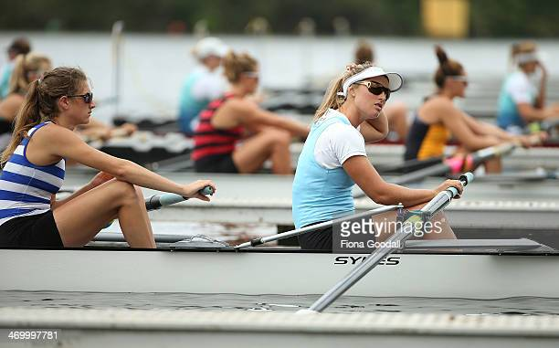 ErinMonique O'Brien and the women's premier coxless four from Central region at the start during the Bankstream New Zealand Rowing Championships at...