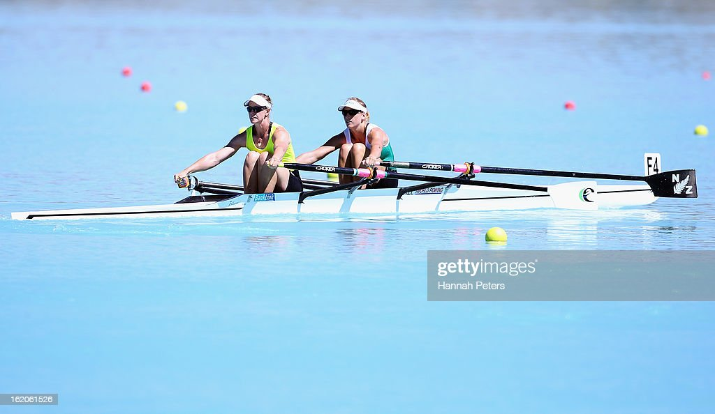 Erin-Monque Shelton and Louise Trappitt of Central compete in the Women's Premier 2X heat during the New Zealand Rowing Championships at Lake Ruataniwha on February 19, 2013 in Twizel, New Zealand.