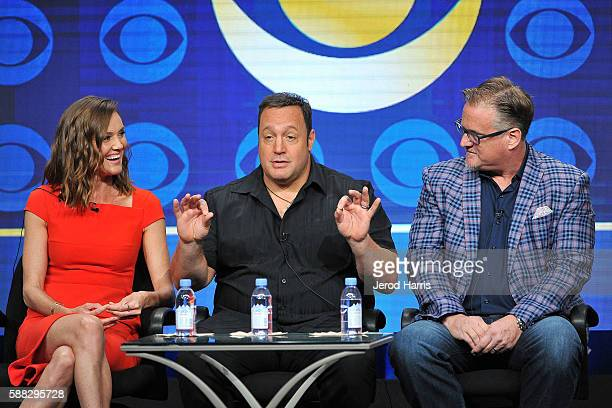 Erinn Hayes Kevin James and Rock Reuben attend the CBS 2016 Summer TCA Panel at The Beverly Hilton Hotel on August 10 2016 in Beverly Hills California