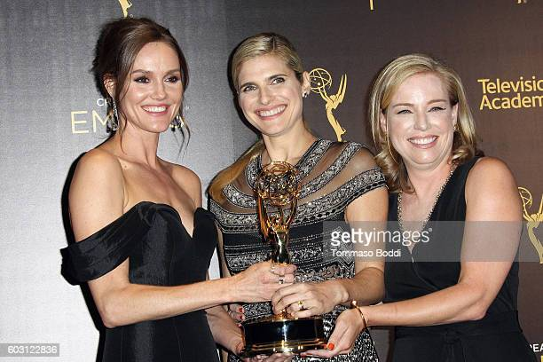 Erinn Hayes Lake Bell and Zandy Hartig pose in the press room at the 2016 Creative Arts Emmy Awards held at Microsoft Theater on September 11 2016 in...