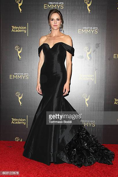 Erinn Hayes poses in the press room at the 2016 Creative Arts Emmy Awards held at Microsoft Theater on September 11 2016 in Los Angeles California