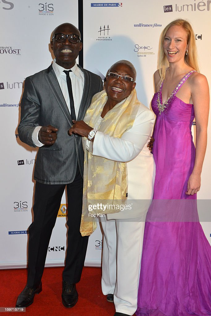 Eriq Ebouaney, Firmine Richard and Aurore Tome attend 'Les Lumieres 2013' Cinema Awards 18th Ceremony at La Gaite Lyrique on January 18, 2013 in Paris, France.