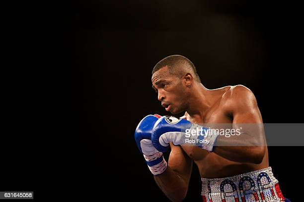 Erislandy Lara fights during the first round of the WBA World Super Welterweight Championship bout against Yuri Foreman at Hialeah Park on January 13...