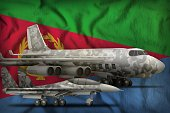air forces with grey camouflage on the Eritrea flag background. Eritrea air forces concept. 3d Illustration