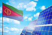 Eritrea alternative energy, solar energy concept with flag - symbol of fight with global warming - industrial illustration, 3D illustration