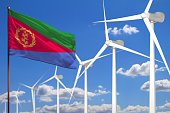 Eritrea alternative energy, wind energy industrial concept with windmills and flag - alternative renewable energy industrial illustration, 3D illustration
