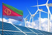 Eritrea solar and wind energy, renewable energy concept with windmills - renewable energy against global warming - industrial illustration, 3D illustration