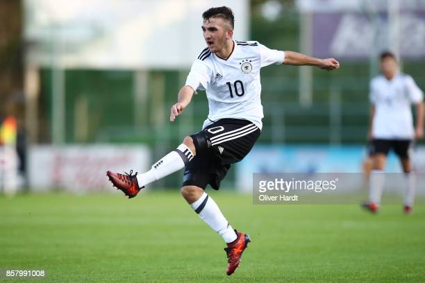 Erkan Eyibil of Germany in action during the Mens U17 international friendly match between Denmark and Germany at Sydbank Park Stadion on October 5...