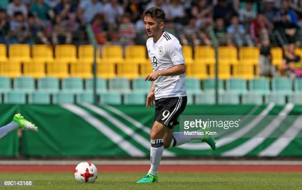 Erkan Eyibil of Germany runs with the ball during the U16 international friendly match between Germany and France at Friedrich Ludwig Jahn Sportpark...