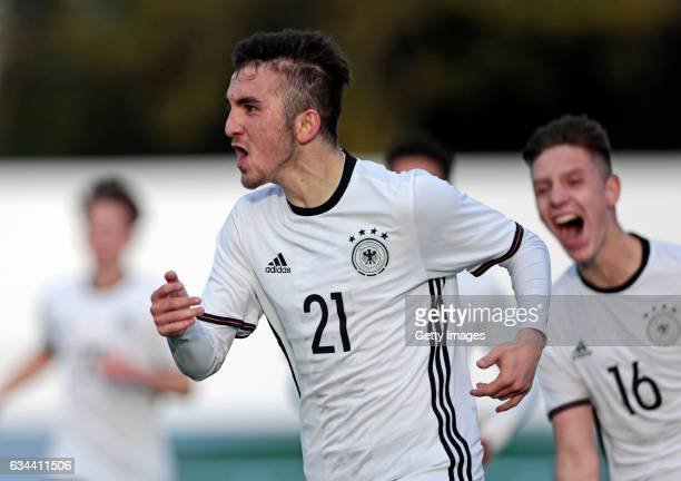 Erkan Eyibil of Germany U16 celebrates his goal during the UEFA Development Tournament Match between Germany U16 and Netherlands U16 on February 9...
