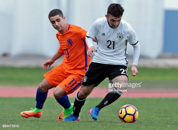 Erkan Eyibil of Germany U16 challenges Marouan Azarkan of Netherlands U16 during the UEFA Development Tournament Match between Germany U16 and...