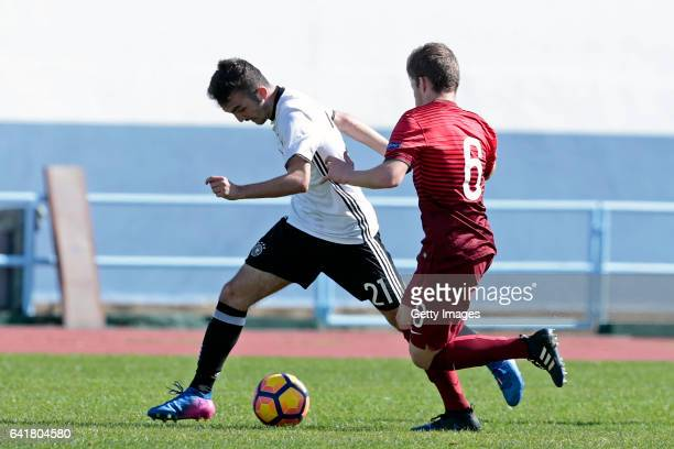 Erkan Eyibil of Germany U16 challenges Rafael Pereira of Portugal U16 during the UEFA Development Tournament Match between Germany U16 and Portugal...