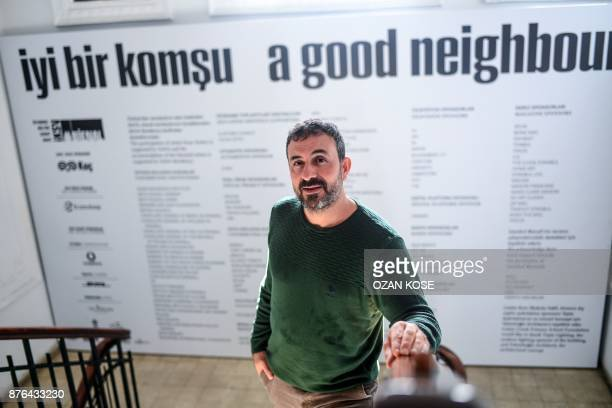 Erkan Ozgen a Kurdish artist from Diyarbakir who opened a new contemporary art gallery poses during an interview in Istanbul on October 22 2017...