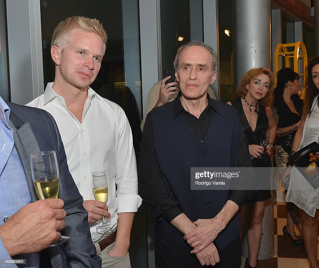 Erkko Etula and Roman Kriheli attend the Roman Kriheli Un:veiled Exhibit At Avant Gallery, Featuring The Unveiling Of 'The Most Beautiful Woman In The World' Painting at Epic Hotel on December 3, 2013 in Miami, Florida.