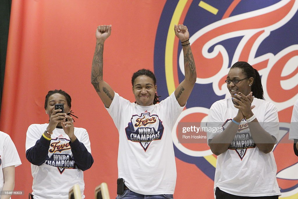 Erlana Larkins of the Indiana Fever as she is singled out during the Indiana Fever's WNBA Championship celebration on October 23, 2012 at Bankers Life Fieldhouse in Indianapolis, Indiana.