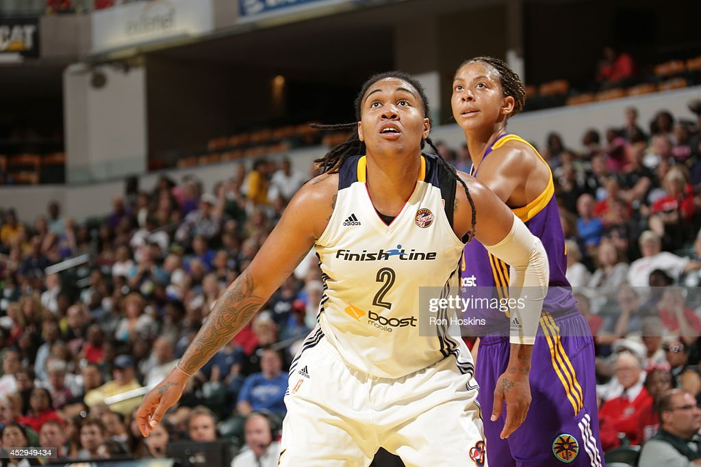 Erlana Larkins #2 of the Indiana Fever boxes out against <a gi-track='captionPersonalityLinkClicked' href=/galleries/search?phrase=Candace+Parker&family=editorial&specificpeople=752955 ng-click='$event.stopPropagation()'>Candace Parker</a> #3 of the Los Angeles Sparks on July 15, 2014 at Bankers Life Fieldhouse in Indianapolis, Indiana.
