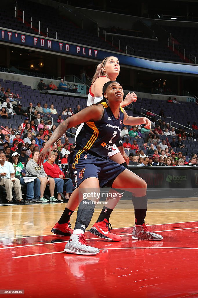 Erlana Larkins #2 of the Indiana Fever boxes out against Stefanie Dolson #31 of the Washington Mystics in Game Two of the Eastern Conference Semifinals during the 2014 WNBA Playoffs on August 23, 2014 at the Verizon Center in Washington, DC.