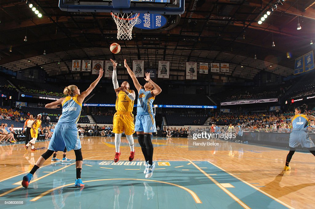 Erlana Larkins #2 of the Indiana Fever goes for a layup against the Chicago Sky on June 29, 2016 at Allstate Arena in Rosemont, IL.