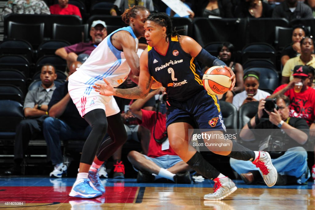 Erlana Larkins #2 of the Indiana Fever handles the ball against the Atlanta Dream on July 1, 2014 at Philips Arena in Atlanta, Georgia.
