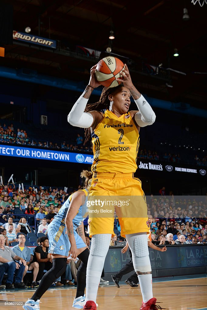 Erlana Larkins #2 of the Indiana Fever looks to pass the ball against the Chicago Sky on June 29, 2016 at Allstate Arena in Rosemont, IL.